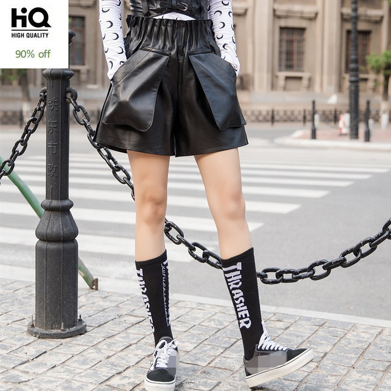 Streetwear High Waist Genuine Leather Shorts Women Autumn Winter Slim Wide Leg Trousers Luxury Elastic Waist Sheepskin Shorts