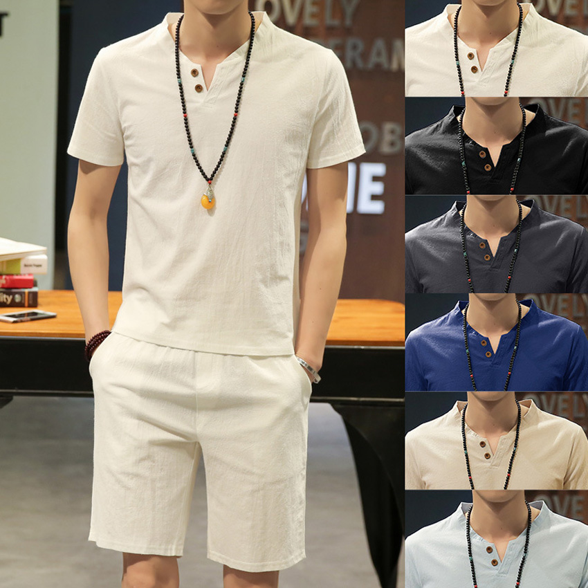 Chinese Style Summer Men Linen Tang Suit Short Sleeve V-neck T-shirt+shorts Clothing Set Breathable Oriental Costumes