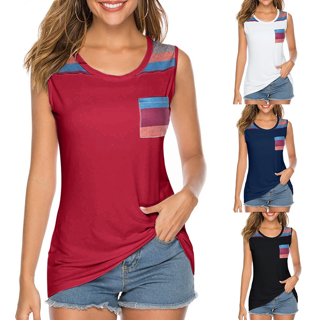 Summer New Fashion Women's Casual Sleeveless Round Neck Tunic Slim Shirt Blouse Tops With Pocket Wholesale Free Ship Z4