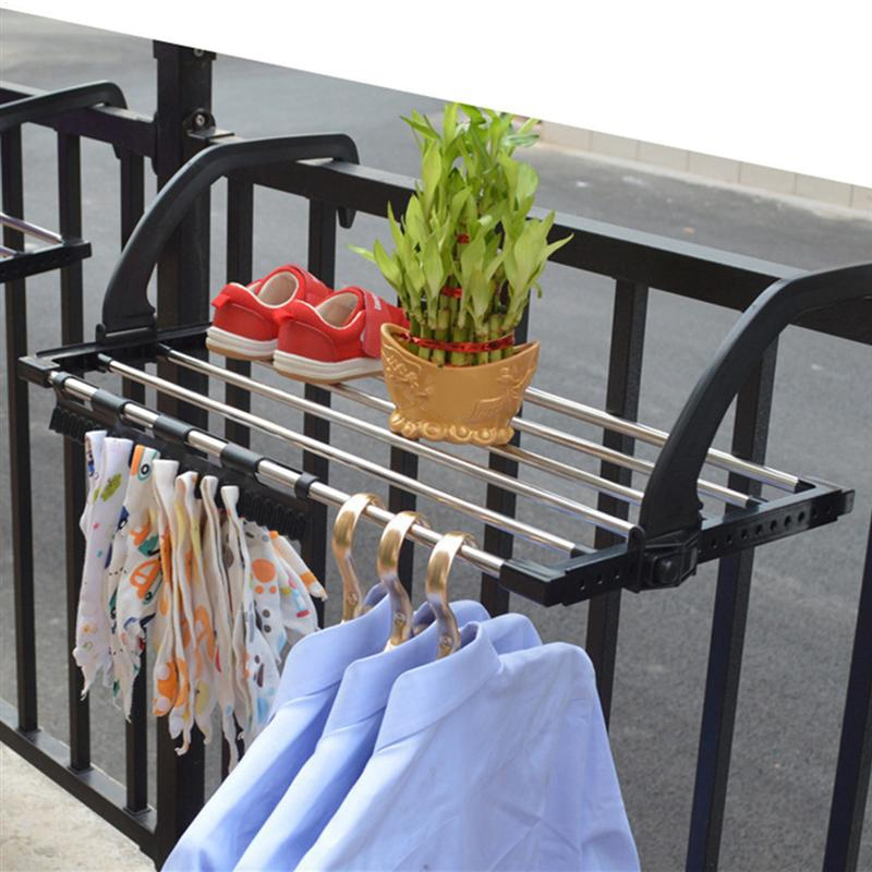 1Pc Stainless Steel Drying Shoe Rack Portable Multi Function Window Laundry Balcony Towel Clothes Diaper Dryer Storage Rack|Drying Racks| |  - title=
