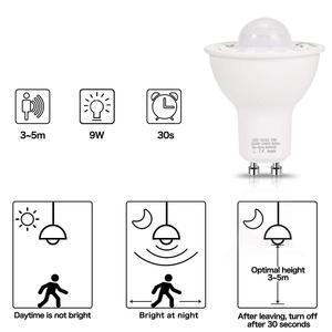 Image 4 - Gu10 pir sensor de movimento lâmpadas led 5w 50 equivalente 500lm dia branco 6000k para escadas garagem corredor passarela Hallway 2Pack