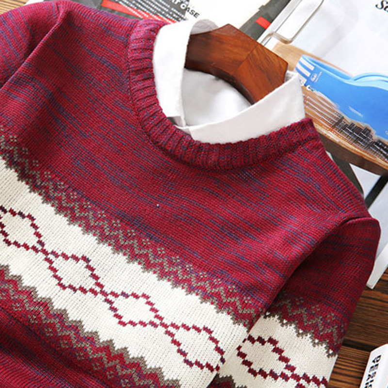 Men Autumn Knitted Sweater Long Sleeve Printed Jumper Plus Size Pullover Tops