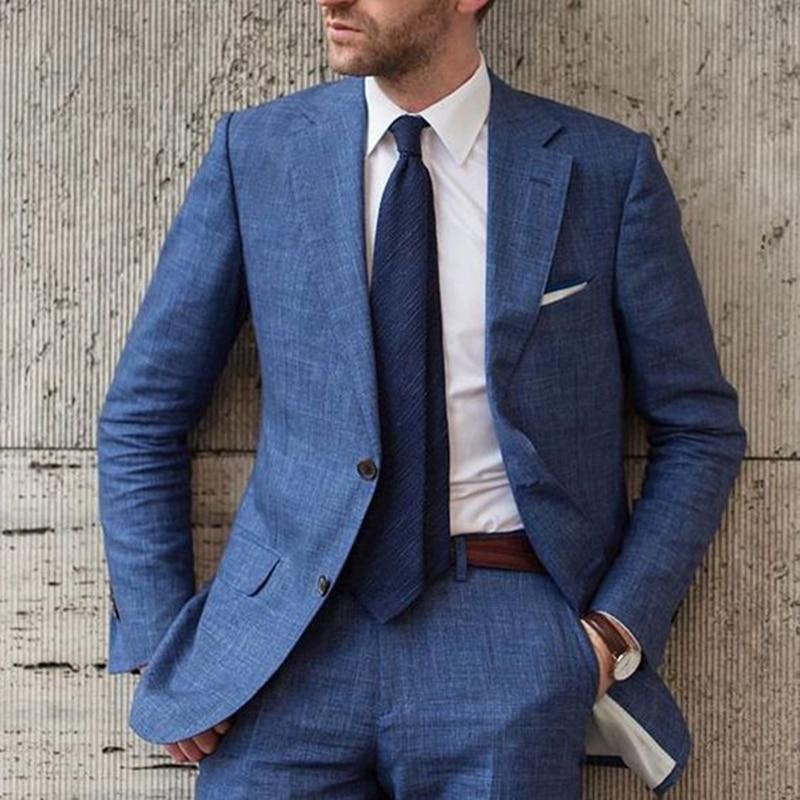 New Arrival Designs Blue Beach Linen Men Suit Slim Fit Tuxedo Custom Blazer Groom Prom Suits Masculino Two Pieces(Jacket+Pants)