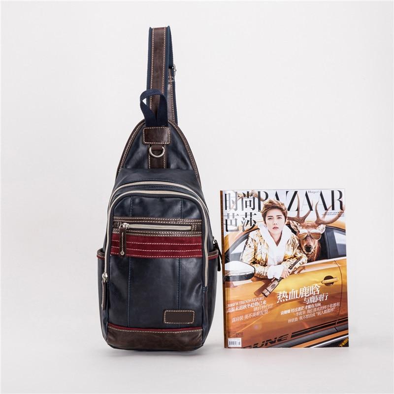 Outdoor Shoulder Bag MEN'S Pu Waterproof Fashion Riding Backpack Sports Trend Shoulder Bag Sports Chest Pack Men's Customizable