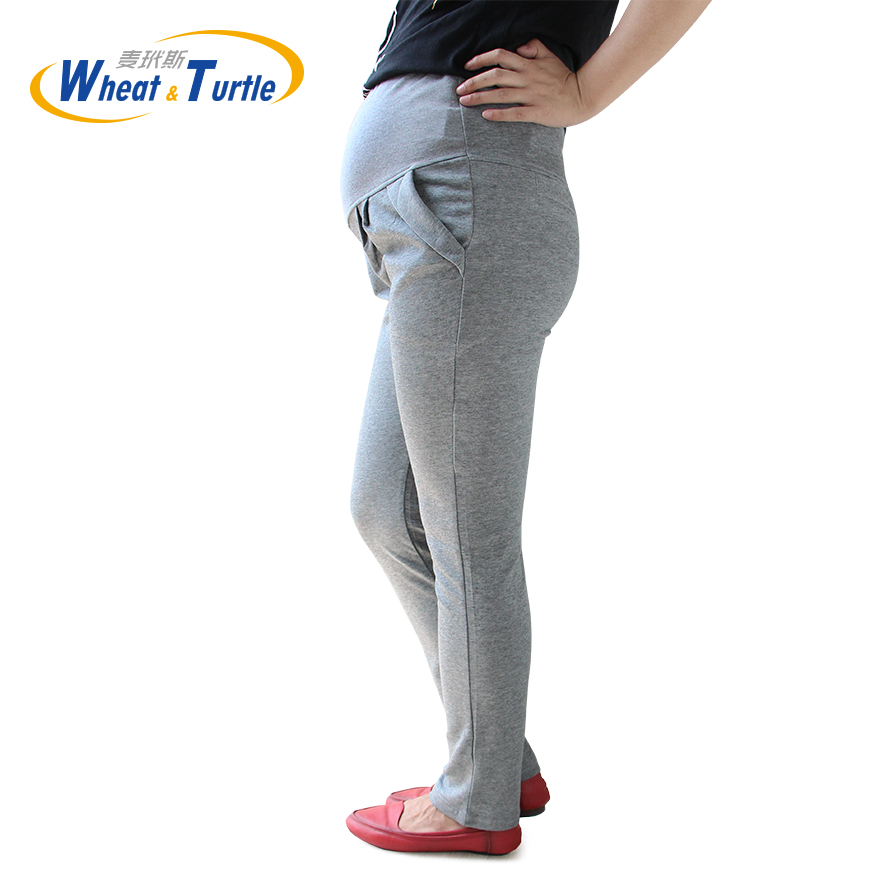 Mid Grey Good Quality Comfortable Cotton Maternity Capris All Match All Season Suitable Casual Harlan Pants For Pregnant Women