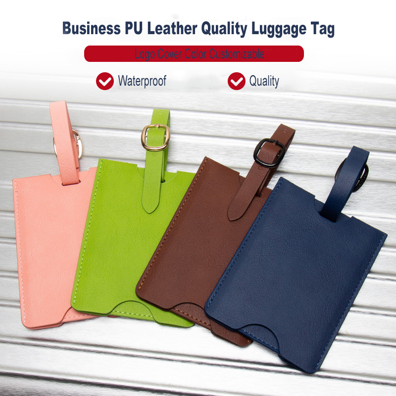 PU Leather Luggage Tag Men Travel Accessories Solid  Suitcase ID Address Holder Baggage Boarding Tag Portable Label Bag ZSLT03