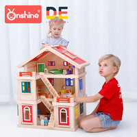Popular Children's Educational Gift Box Holiday Doll House Creative Building Blocks DIY Toy Villa Set Play House