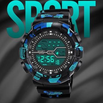 Moda wodoodporny męski chłopiec LCD stoper cyfrowy data gumowy zegarek sportowy na rękę часы мужское zegarki meskie zegarek meski tanie i dobre opinie Sanwony 25cm 3Bar QUARTZ Sprzączka ROUND relogios masculino bez opakowania Silikon relogios masculinos relojes hombre 2020