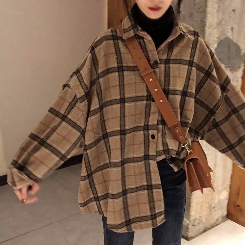Spring And Autumn New Shirt Korea Original Wool Plaid Shirt Loose Oversized Lapel Long Sleeve Jacket For Women