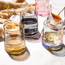 Lead-free Glass Mugs Creative Rainbow Amber Gray Pink Color Transparent Juice Cocktail Beverage Wine Glasses Gift for Friends fashion free shipping lead free crystal handmade blown beer glass beverage juice cup household large capacity drinking utensils
