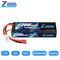 Zeee 7.4V 60C 6200mAh 2S Lipo Battery Hardcase with Deans Connector 2S RC Lipo Battery for RC Vehicles Car Truck Truggy Boat