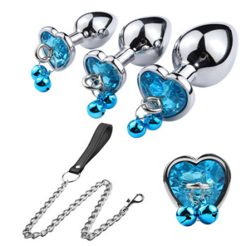 Blue metal anal plug case with clip