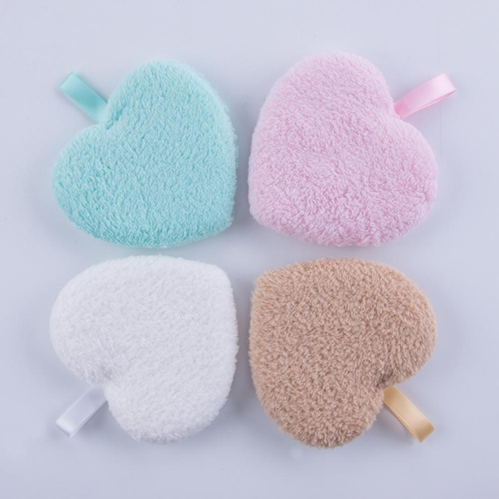 4 Colors Heart Shaped Makeup Remover Puff Reusable Face Washing Cotton Cloth Pads Face Cleansing Makeup Lazy Cleaning Towel