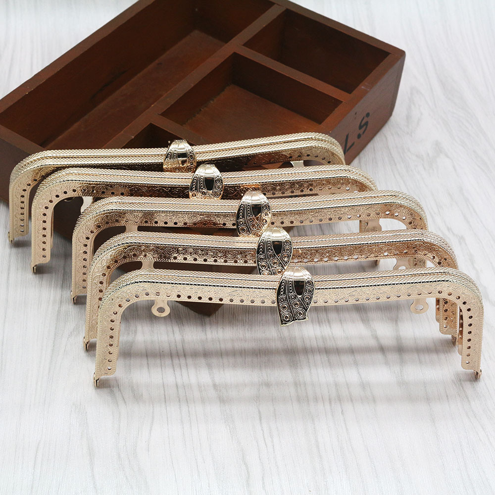20cm Metal Purse Frame 3 Pcs Rectangular Bag Frame Light Gold Fashion Metal Bag Handger Frame Accesosories For Bags Purse Clasp