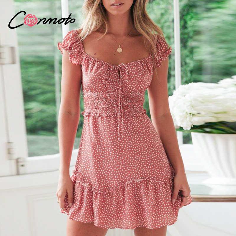 Conmoto vintage polka dot cintura alta vestido curto das mulheres 2020 verão nova moda casual rendas até sexy fora do ombro vestidos da menina