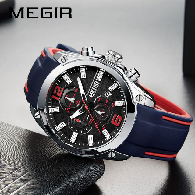 Top Luxury Brand MEGIR Men Sports Watches Mens Quartz Military Analog Clock Man Fashion Rubber Strap Waterproof Wrist Watch