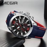 Top Luxury Brand MEGIR Men Sports Watches Men's Quartz Military Analog Clock Man Fashion Rubber Strap Waterproof Wrist Watch