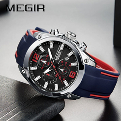 Top Luxury Brand MEGIR Men Sports Watches Men's Quartz Military Analog Clock Man Fashion Rubber Strap Waterproof Wrist Watch