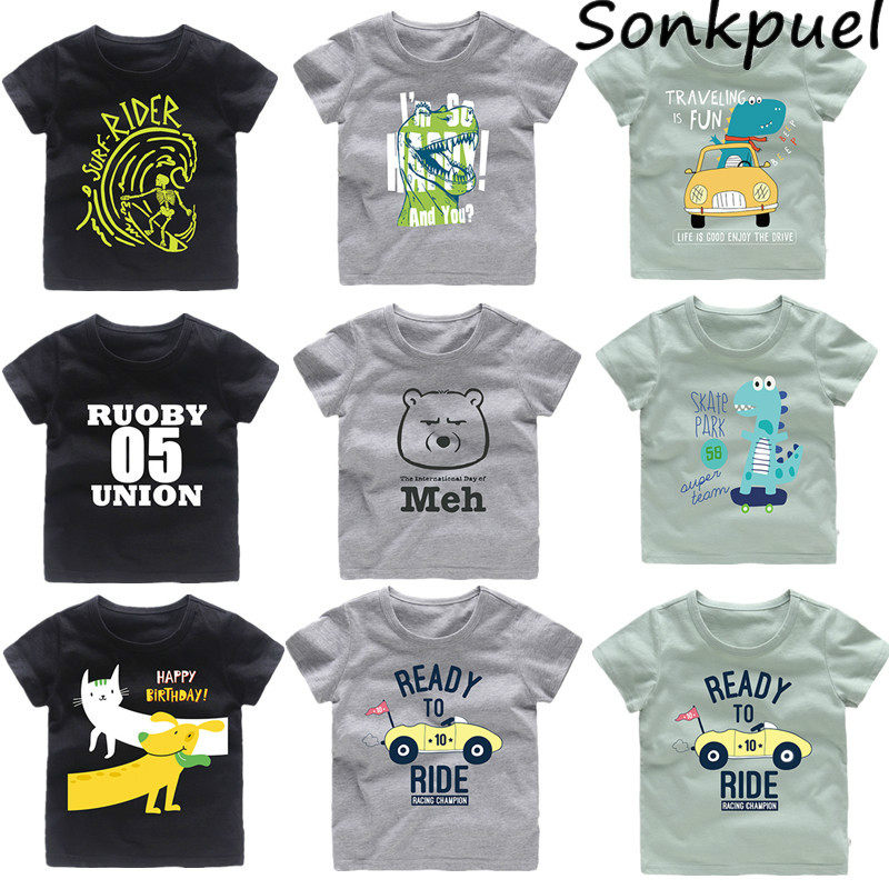 Children Kids Baby Girls Boys Cartoon Print T-shirt Tee Tops Fashion Clothes