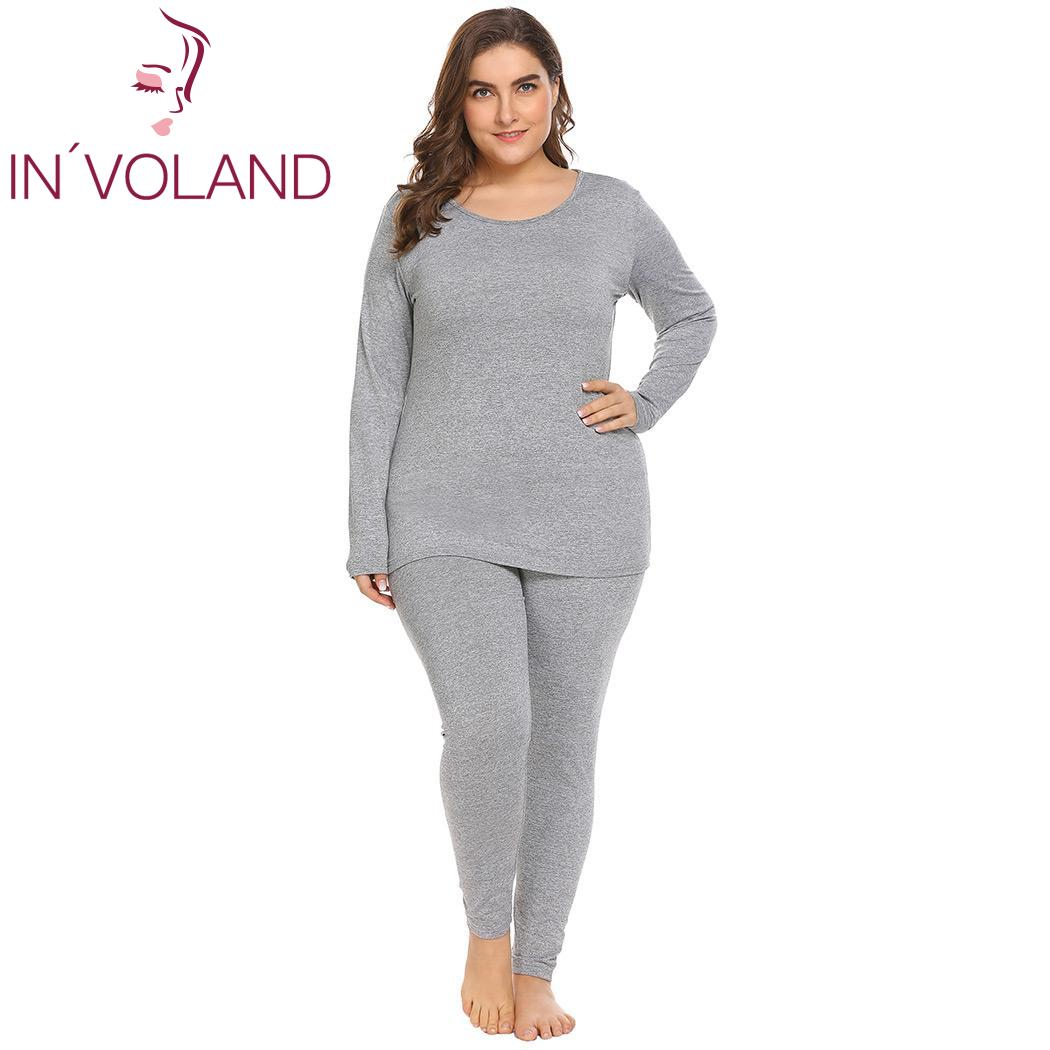 IN'VOLAND Women Thermal Sleepwear Set Plus Size 5XL Solid Top & Bottom Fleece Nightwear Full Length Lined Slim Female Pajama Set