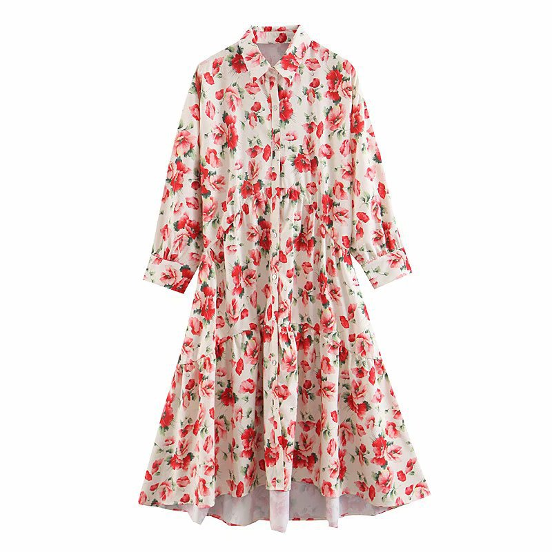 2019 WOMEN'S Dress Spring And Summer New Style Fashion Fold-down Collar Long Sleeve Printed Slim Fit Mid-length Dress Shirt Dres