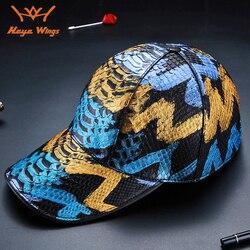 Haute qualité hommes casquette en cuir de peau de Python Multicolore de luxe fait à la main chapeau