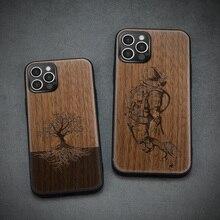 Carveit עץ כיסוי רך קצה בחזרה מקרים עבור iPhone 12 7 8 בתוספת מיני 11 פרו מקסימום X XS XR SE 2020 אביזרי טלפון מגן גוף
