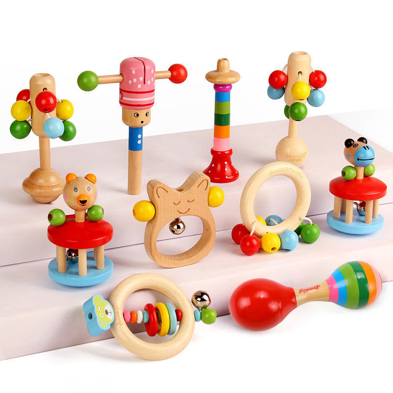 Qkoall Baby Rattles 0-12 Months Educational Baby Wooden Rattle For Toddlers 1pc Intellectual Development BPA Free Wooden Toys