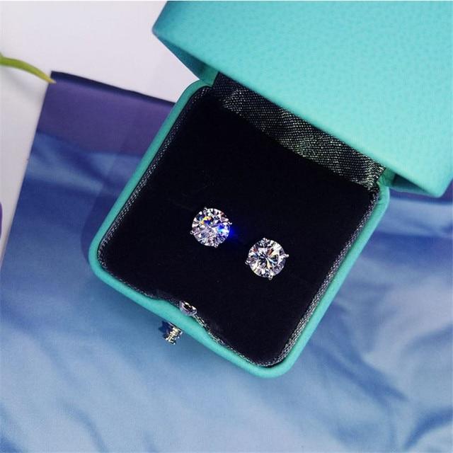 Trendy 5mm 9mm Lab Diamond Stud Earring Real 925 sterling silver Jewelry Engagement Wedding Earrings for.jpg 640x640 - Trendy 5mm/9mm Lab Diamond Stud Earring Real 925 sterling silver Jewelry Engagement Wedding Earrings for Women men Charm Gift