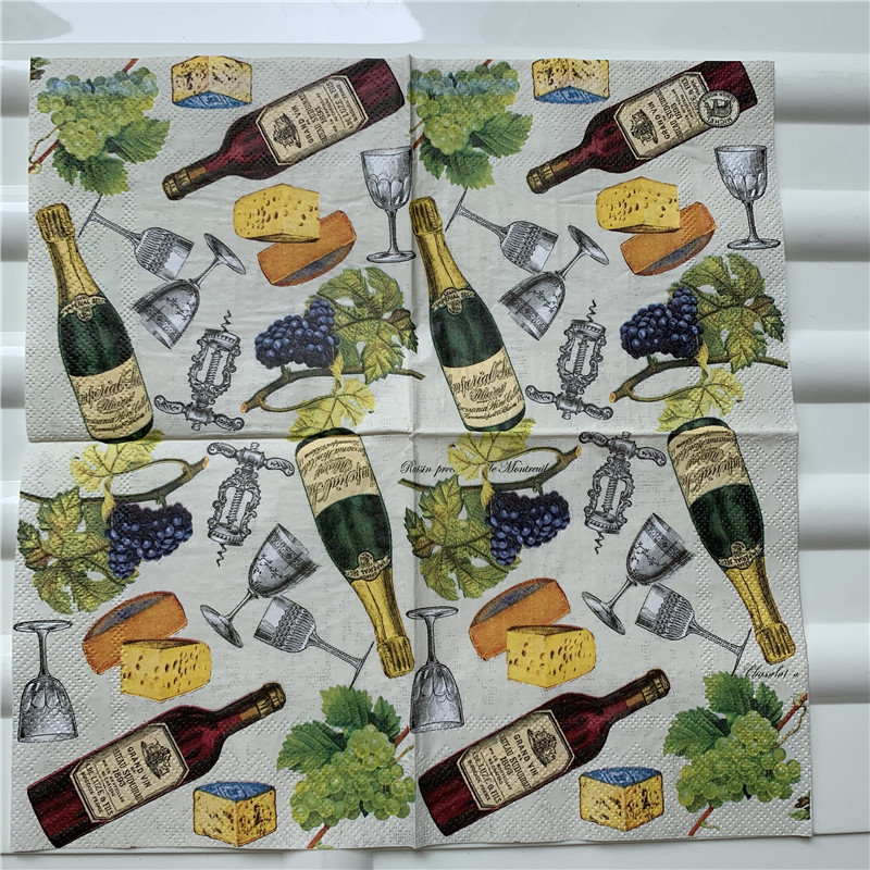 Image 4 - 25cm decoupage paper napkin wedding tissue elegant flower butterfly fruit Mango pear wine handkerchief birthday party serviettes-in Disposable Party Tableware from Home & Garden