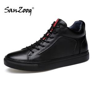 Image 1 - Mężczyźni prawdziwej skóry wysokie trampki jesień męskie buty zimowe Tenis Sneaker czarny Zapatilla Hombre Hip Hop Plus rozmiar 47 48