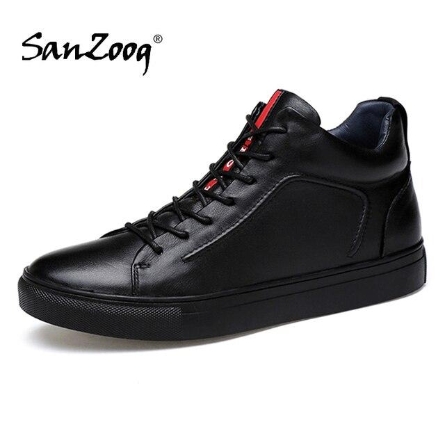 Mężczyźni prawdziwej skóry wysokie trampki jesień męskie buty zimowe Tenis Sneaker czarny Zapatilla Hombre Hip Hop Plus rozmiar 47 48