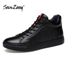 Men Genuine Leather High Top Sneakers Autumn Winter Mens Shoes Tenis Sneaker Black Zapatilla Hombre Hip Hop Plus Size 47 48
