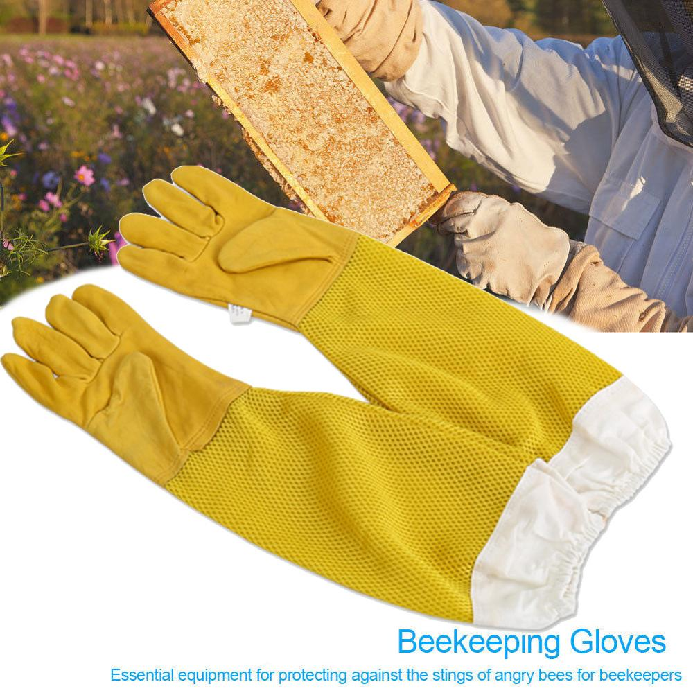 Beekeeping Gloves Sheepskin Anti-bee Beekeeping Tools  Leather Protective Long Sleeves Canvas Beekeeping Equipment