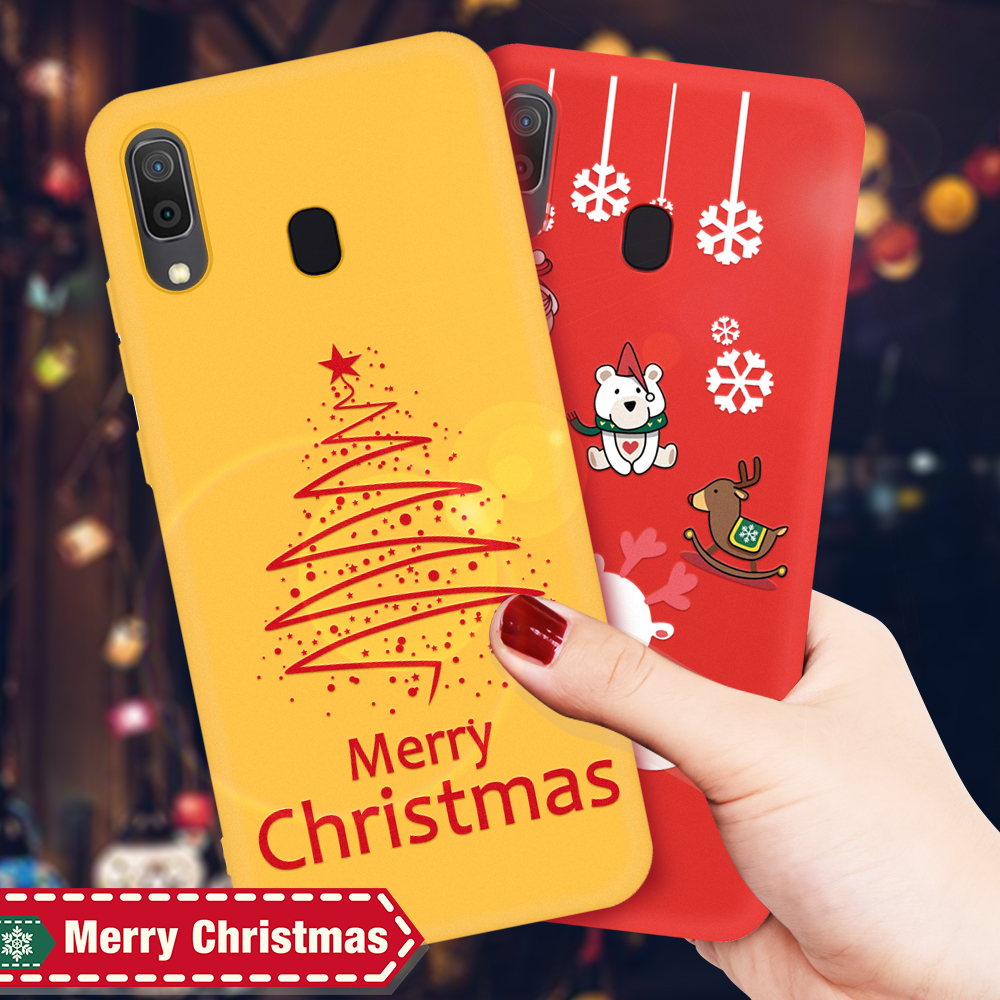 Cartoon Christmas Deer & Snowman Soft Case For <font><b>Samsung</b></font> Galaxy A20 A30 A50 A70 A7 A750 <font><b>A2018</b></font> A10 TPU Phone Back Cover Case Gift image
