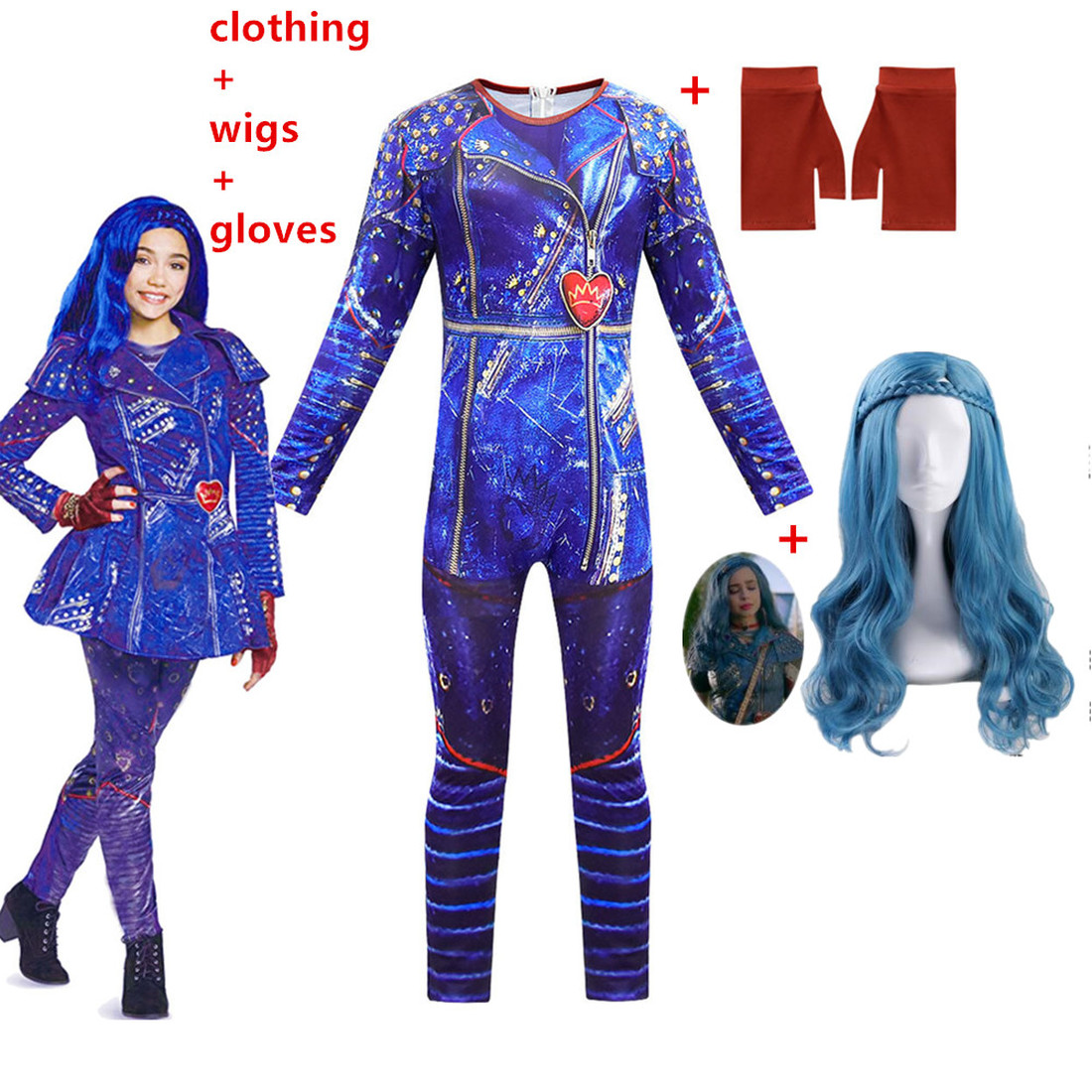 2019 Descendants 3 Evie Light Blue Long Wavy Wig Kids Adult Cosplay Costume+3D Jumpsuits Funny Party Halloween Costume For Kids