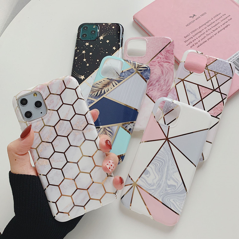 Glossy Marble Case For iphone 11 6 6s 7 8 Plus XR XS Max Electroplate Shell Silicone