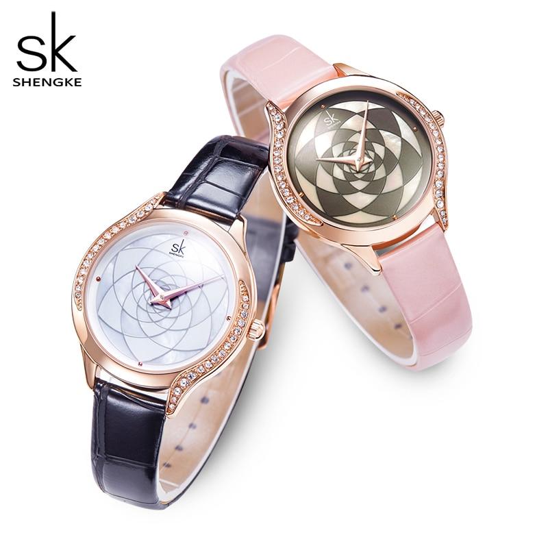 Women Watches ShengKe Brand Luxury Watch Quartz Waterproof Women's Wristwatch Ladies Fashion Leather Clock Relogios Feminino