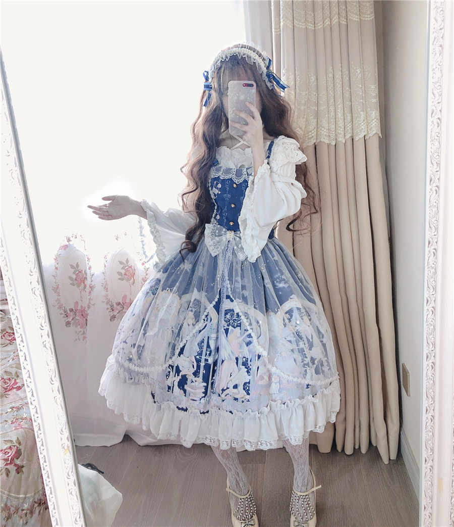 Lolita Retro Court Style JSK Spaghetti Strap Mesh Lace Fairy Dress Kawaii Girl Lolita Dress Tea Party Princess Dress