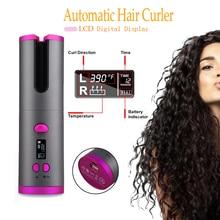Wireless Hair Curler Automatic Curling Iron Ceramic Rotating Cordless USB Rechar