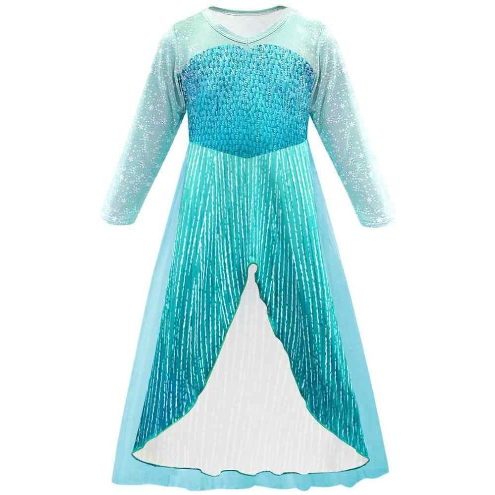 «Холодное сердце» 2 Платье Анны и Эльзы для девочек; Милый детский костюм вечерние платья принцессы платья для малышек одежда на Рождество на день рождения Комплект одежды