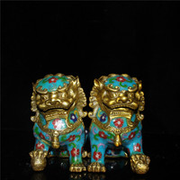 Chinese old Beijing old goods collection old Copper tire cloisonne festoon pair of lions