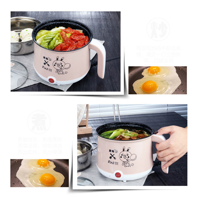 220V Mini Multifunction Electric Cooking Machine Single/Double Layer Available Hot Pot Multi Electric Rice Cooker Non-stick pan Appliances Consumer Electronics
