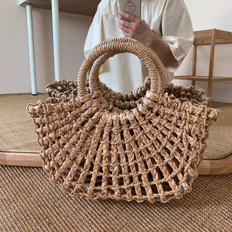 NEW Fashion Women Tote Bag Rattan Cotton Rope Hollow Straw Woven Summer Beach Bag Casual Handmade Female Shoulder Bags Sac