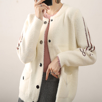 Septass Women Cardigan Faux Mink Cashmere Knitted Jackets With Pockets Autumn Long Sleeve O Neck Fluffy Sweater Cardigans White