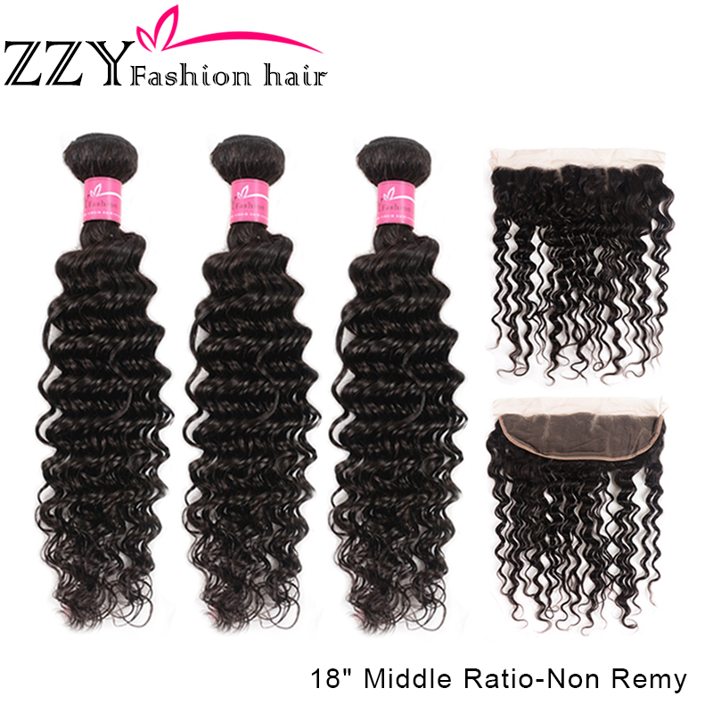 ZZY Deep Wave Bundles With Frontal M Non-Remy Human Hair 3Bundles With Closure Brazilian Hair Weave 13x4 Ear To Ear Lace Frontal