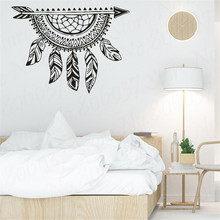 Arrow With Dream Wall Vinyl Decals Feathers Style Creative Dreamcatcher Wall Stickers Removable Bedroom Wall Art WL1730 arrow wall decal dreamcatcher vinyl wall sticker bohemian design bedroom decor dream catcher feathers symbol wall mural ay1451