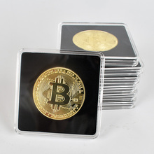 1pcs Gold Plated Bitcoin Bit Coin with Square Transparent Acrylic Case For Gift