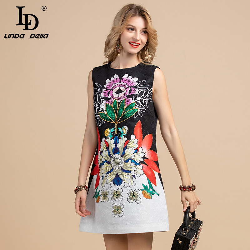 LD LINDA DELLA 2020 Fashion Runway Summer Dress Women's Sleeveless Vintage Floral Print Crystal Beading A-Line Short Dresses