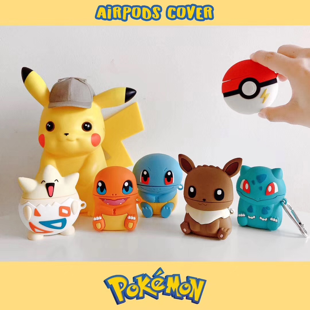 Pikachu Kawaii Cartoon AirPods 1/2 Box Silicone Pokemon Anti-drop Bluetooth Headset Fashion Protective Case Box New Year Gift